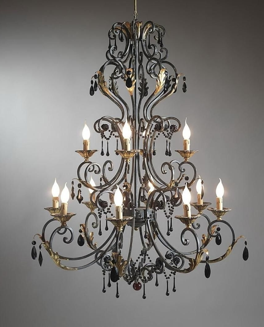 Cast Iron Chandelier Intended For Trendy Wrought Iron Decor (View 7 of 20)