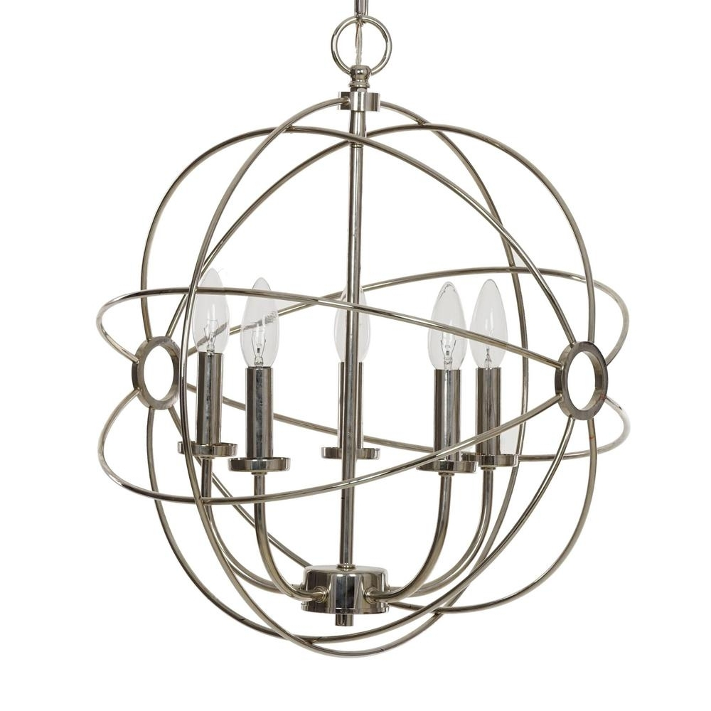 Catalina Lighting 5 Light Chrome Orb Chandelier 20069 000 – The Home Pertaining To Preferred Orb Chandelier (View 6 of 20)