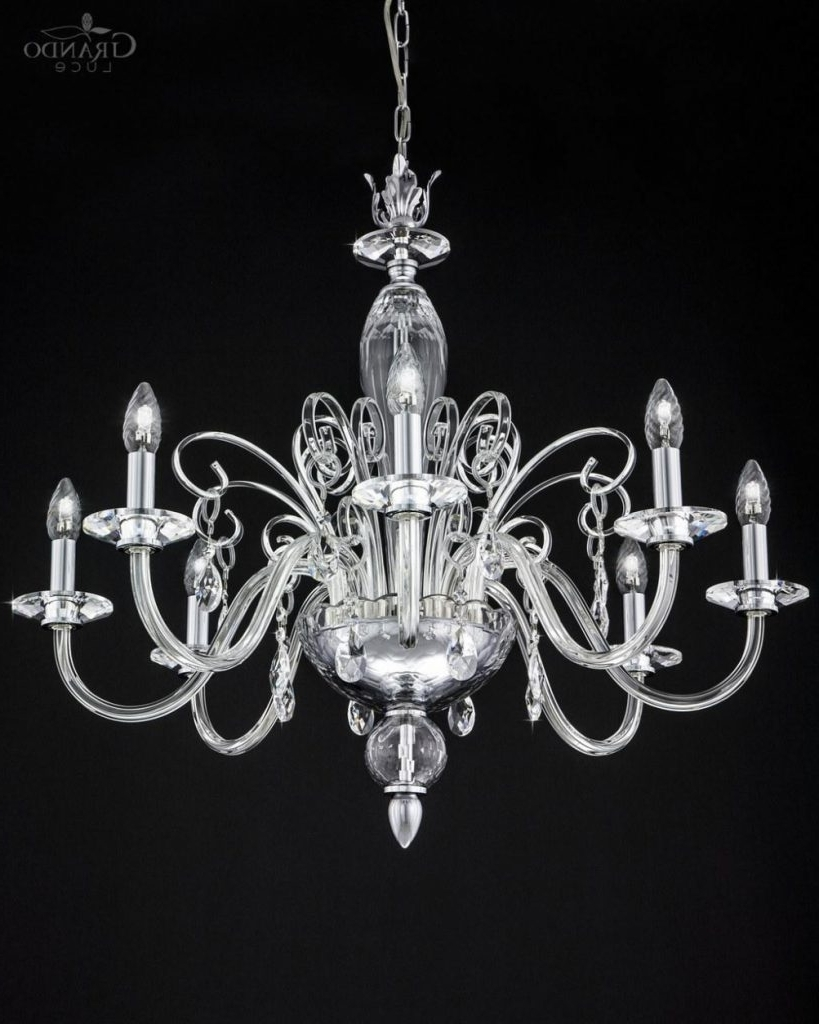 Chandelier ~ 120/ch 8 Chrome Crystal Chandelier With Swarovski In Well Known Crystal Chrome Chandelier (View 20 of 20)