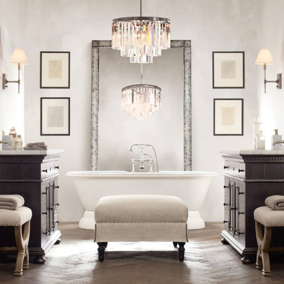 Chandelier Bathroom Lighting Fixtures For Well Known Chandelier : Vintage Bathroom Lighting Bathroom Cabinets With Lights (View 3 of 20)