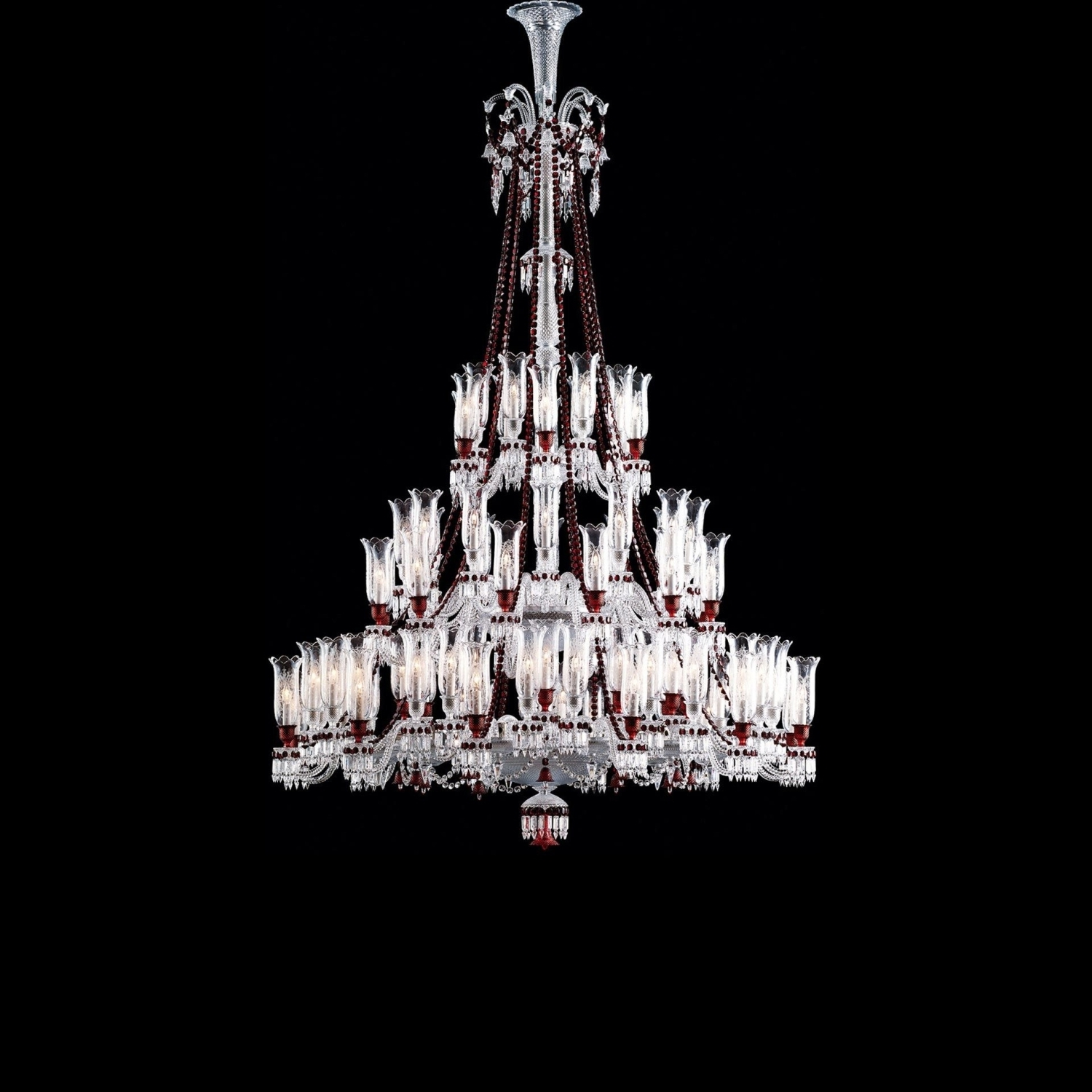 Chandelier Clear And Red 84L Baccarat Zenith 2807099 Throughout Popular Red Chandeliers (View 14 of 20)