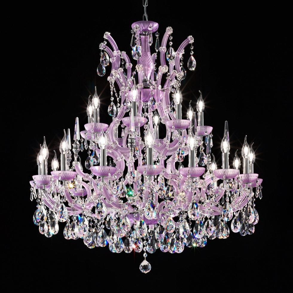 Chandelier ~ Crystal Chandelier And Plus Led Chandelier And Plus With Most Current Purple Crystal Chandelier Lighting (View 4 of 20)
