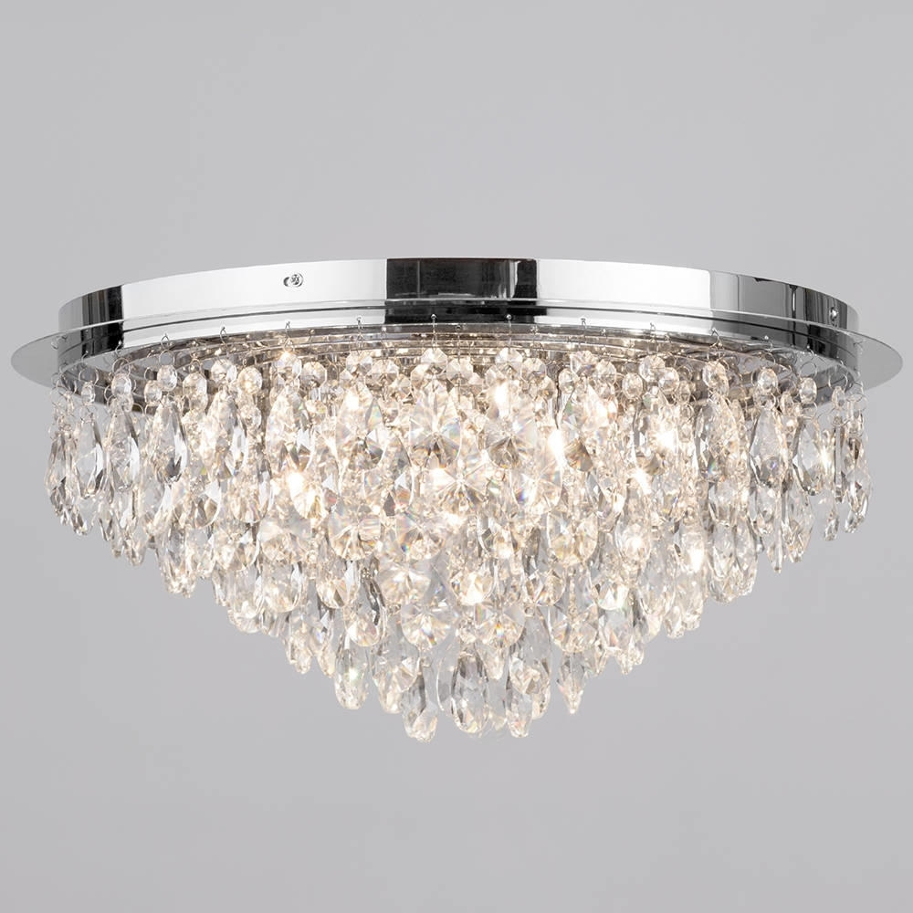 Chandelier For Low Ceiling Within Widely Used Flush Ceiling Light – Crystal 6 Light Chrome (View 5 of 20)