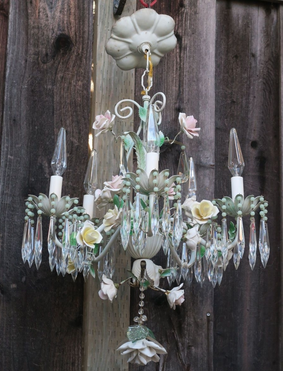 Chandelier French Antique Shabby Tole Beaded Barbola Cabbage Rose Intended For Newest Ornate Chandeliers (View 11 of 20)