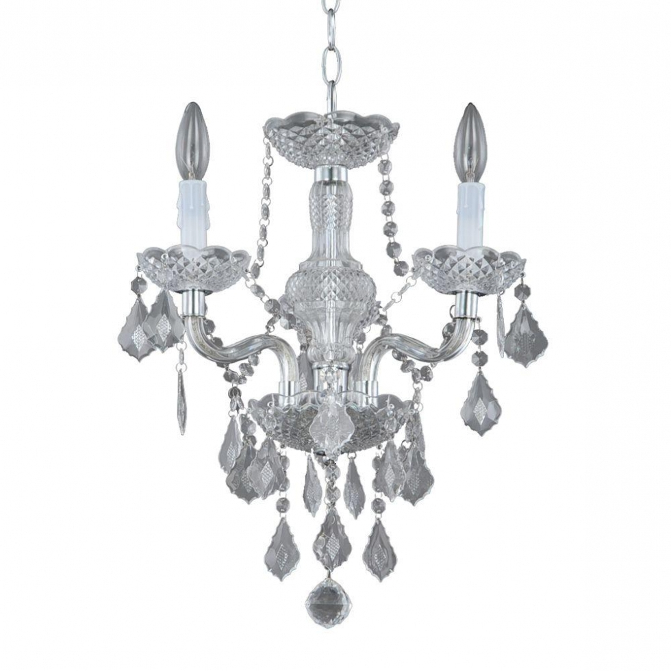 Chandelier ~ Hampton Bay Maria Theresa 3 Light Chrome And Clear Intended For Best And Newest Grey Crystal Chandelier (View 9 of 20)