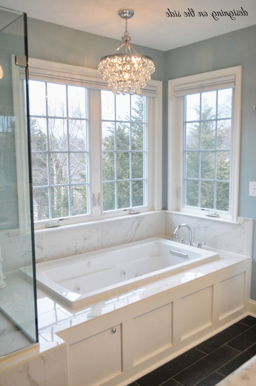 Chandelier In The Bathroom For Fashionable Master Bath, Marble Tile, Sw Rain, Crystal Chandelier, Tile That (View 7 of 20)