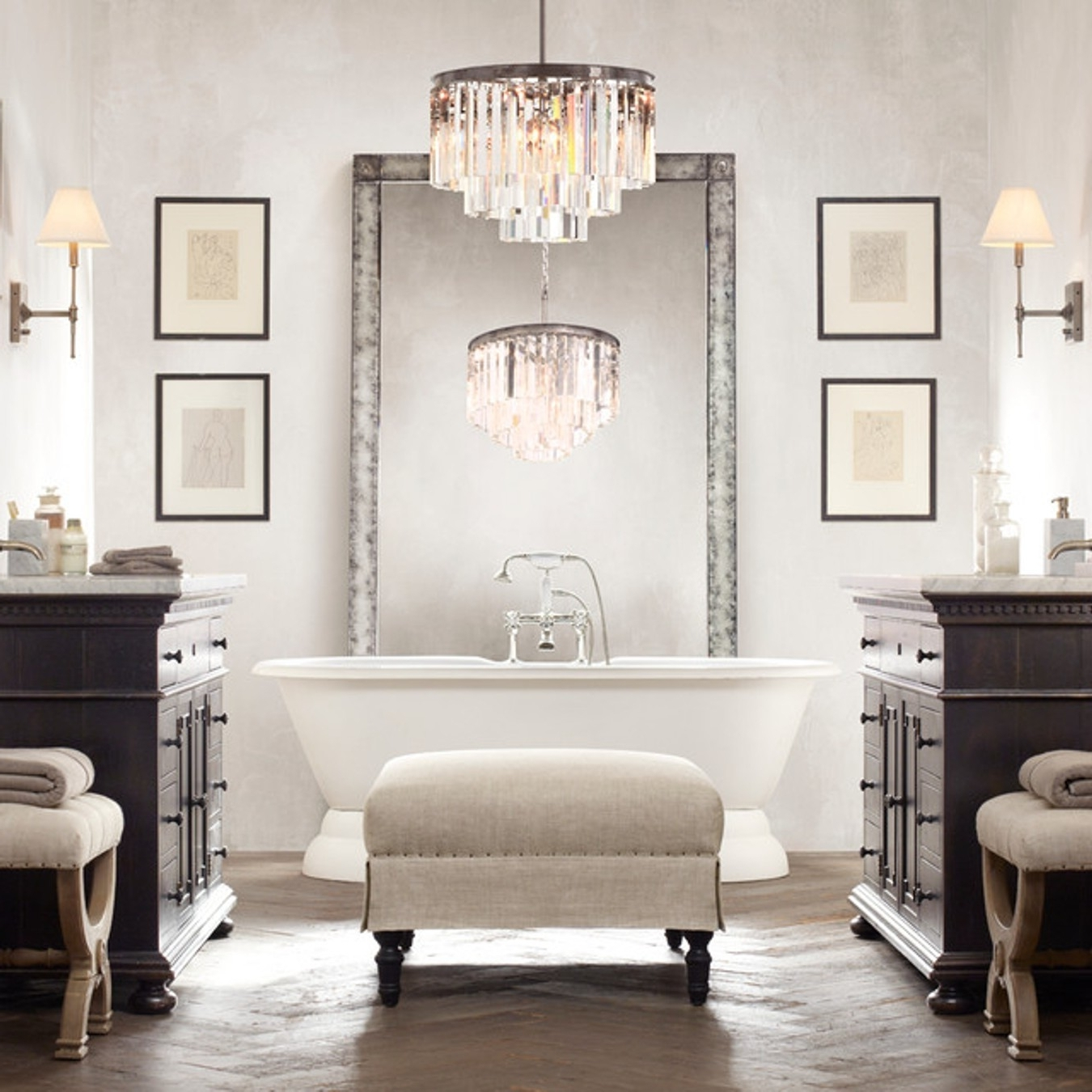 Chandelier In The Bathroom With 2019 Bedroom & Bathroom: Charming Bathroom Chandeliers For Contemporary (View 18 of 20)