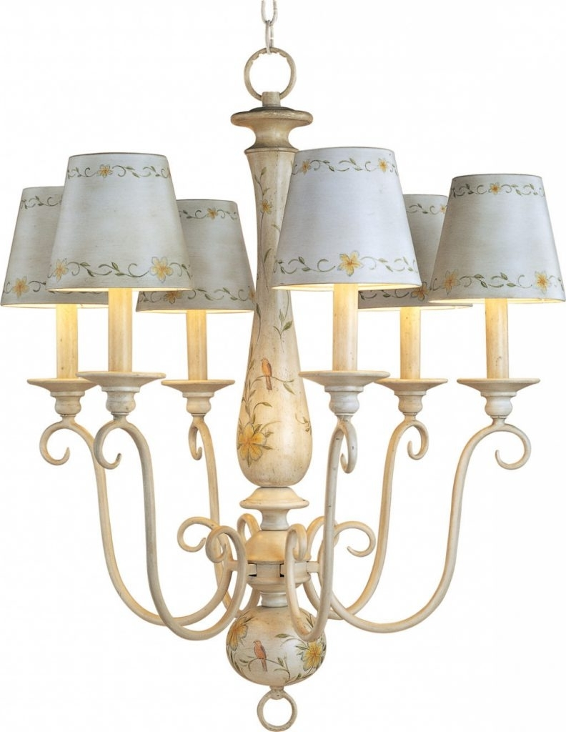 Chandelier Lamp Shades Inside Well Known Furniture : Antique French Country Mini Chandelier With Ceramic Lamp (View 2 of 20)