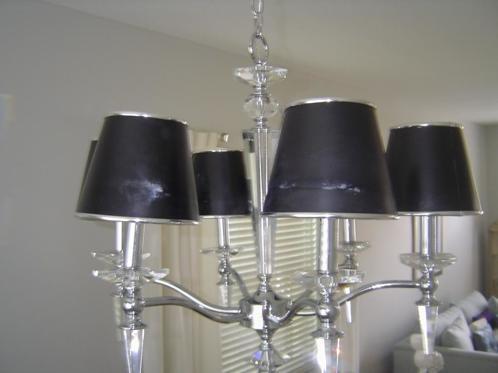 Chandelier Lampshades Throughout Well Known Excellent Lamp Shade Chandelier Black Shade With Steel And Crystal (View 8 of 20)