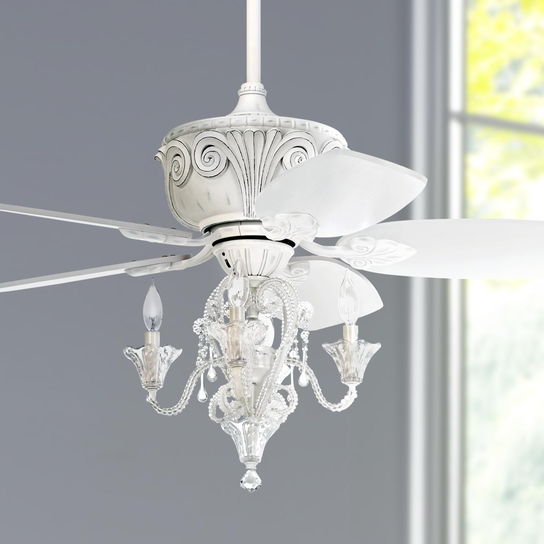 "Chandelier Light Fixture For Ceiling Fan Inside Fashionable 44"" Casa Deville™ Antique White Ceiling Fan With Light (View 2 of 20)"