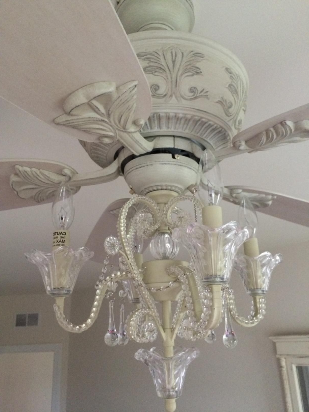 Chandelier Light Fixture For Ceiling Fan Inside Most Up To Date Amazon: Crystal Bead Candelabra Antique White Ceiling Fan Light (View 5 of 20)