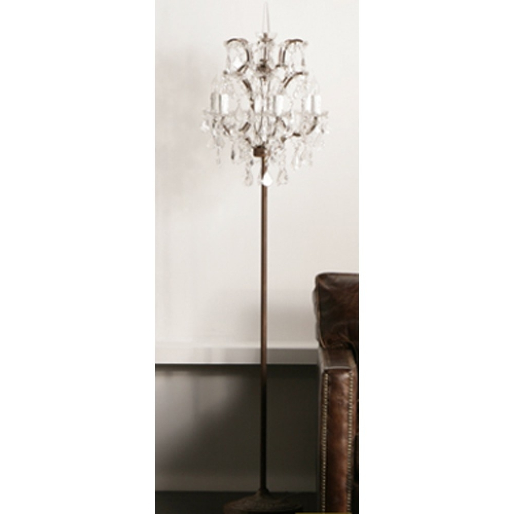 Chandelier Standing Floor Lamp Gold Led Regarding Plans 4 With Famous Crystal Chandelier Standing Lamps (View 5 of 20)