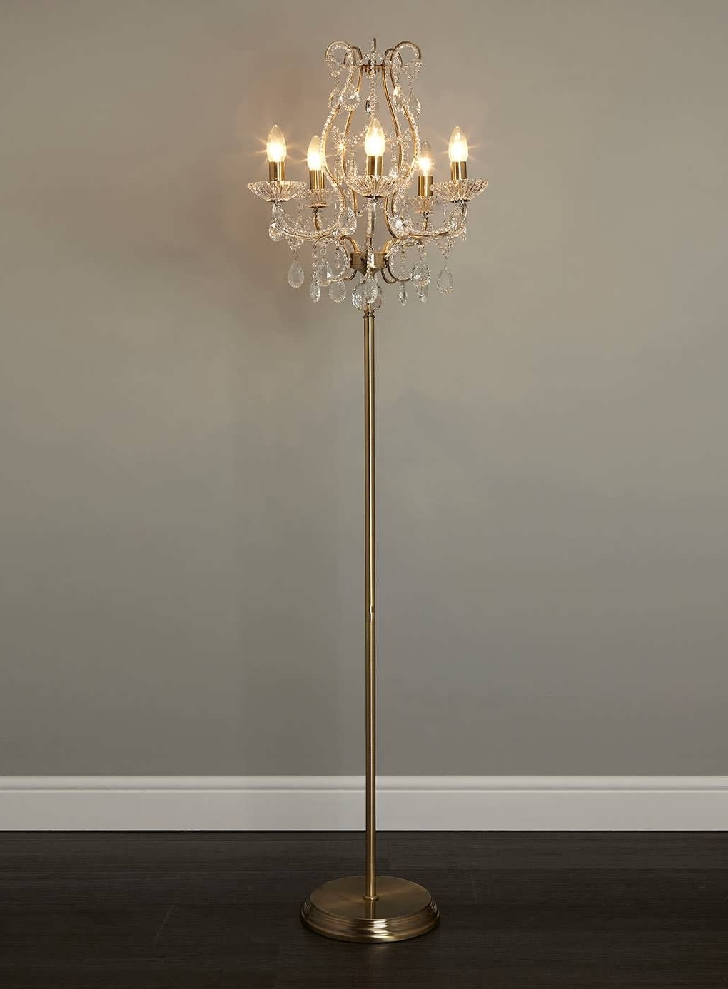 Chandelier Standing Lamps Regarding Best And Newest Wonderful Crystal Chandelier Floor Lamp Standing Lamps Covers Shades (View 4 of 20)