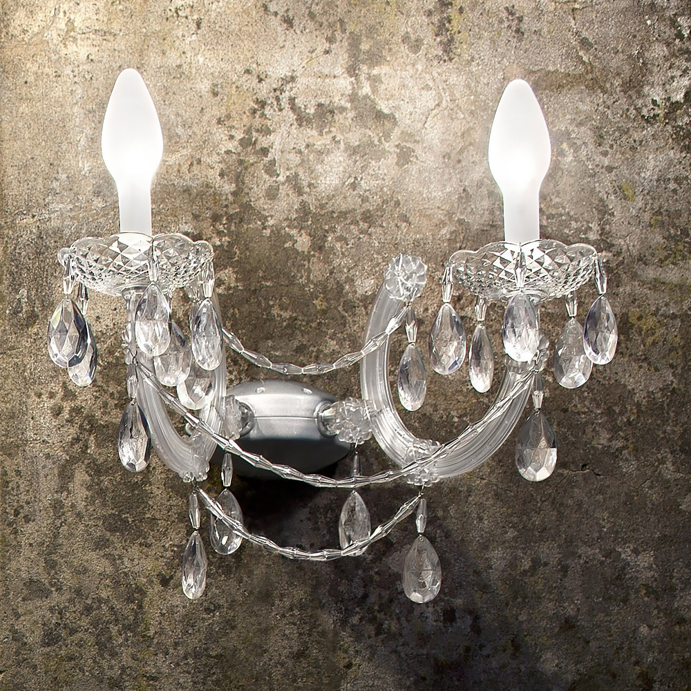 Chandelier Wall Lights Throughout Widely Used Outdoor Crystal Chandelier Wall Light (View 3 of 20)