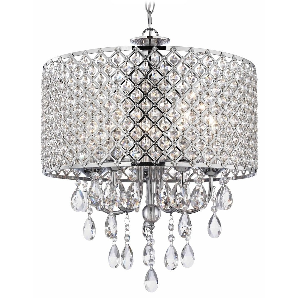 Chandelier With Shades And Crystals Intended For Latest Crystal Chrome Chandelier Pendant Light With Crystal Beaded Drum (View 3 of 20)