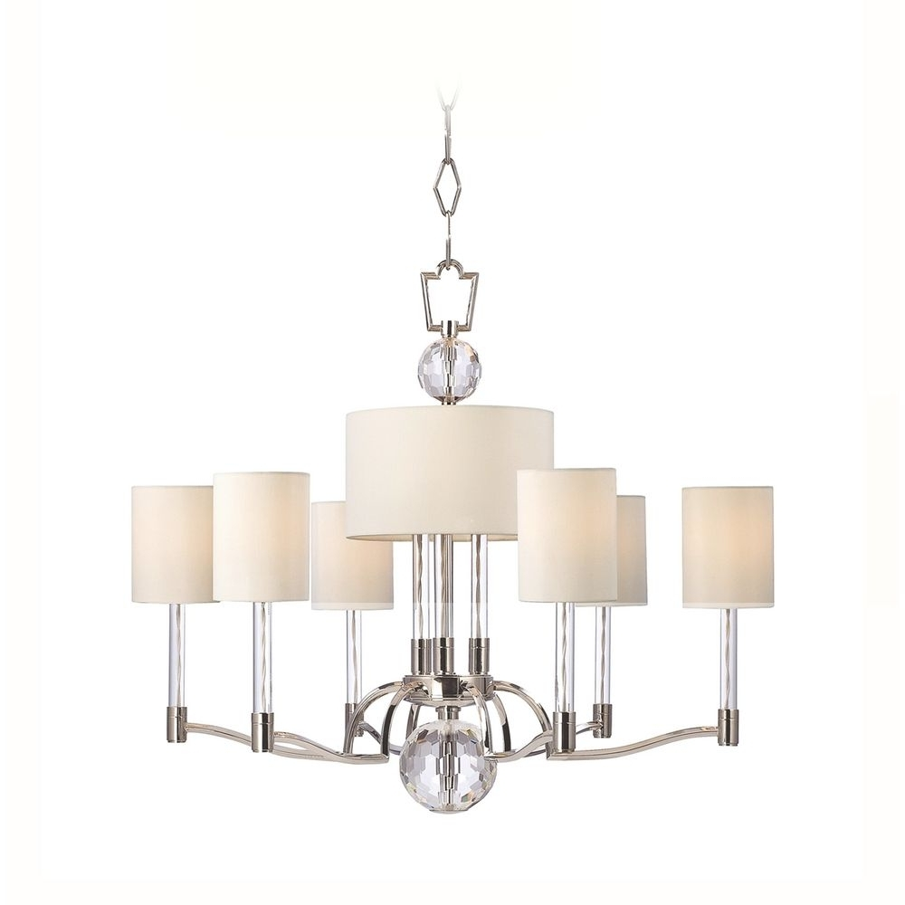 Chandelier With Shades And Crystals Regarding Widely Used Modern Chandelier With White Shades In Polished Nickel Finish (View 20 of 20)