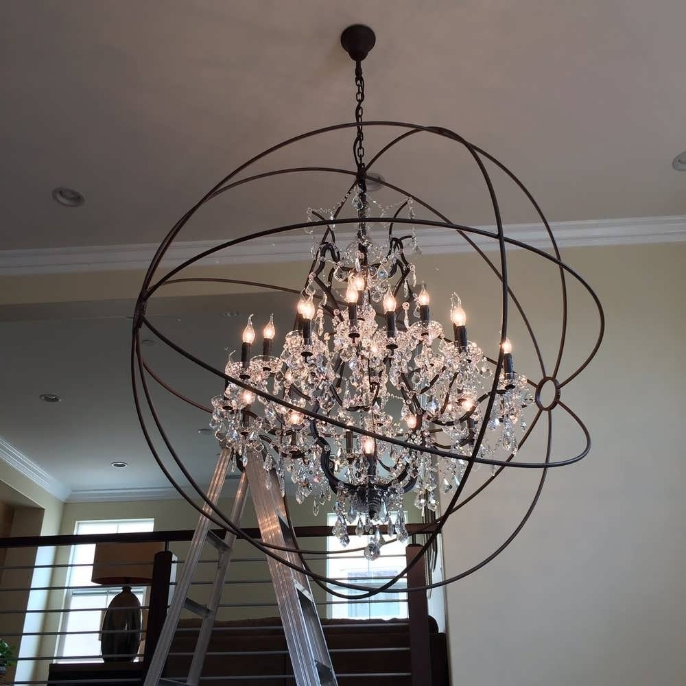 Chandelier : Wood Sphere Chandelier Crystal Ball Chandelier Orb With Latest Metal Ball Chandeliers (View 6 of 20)