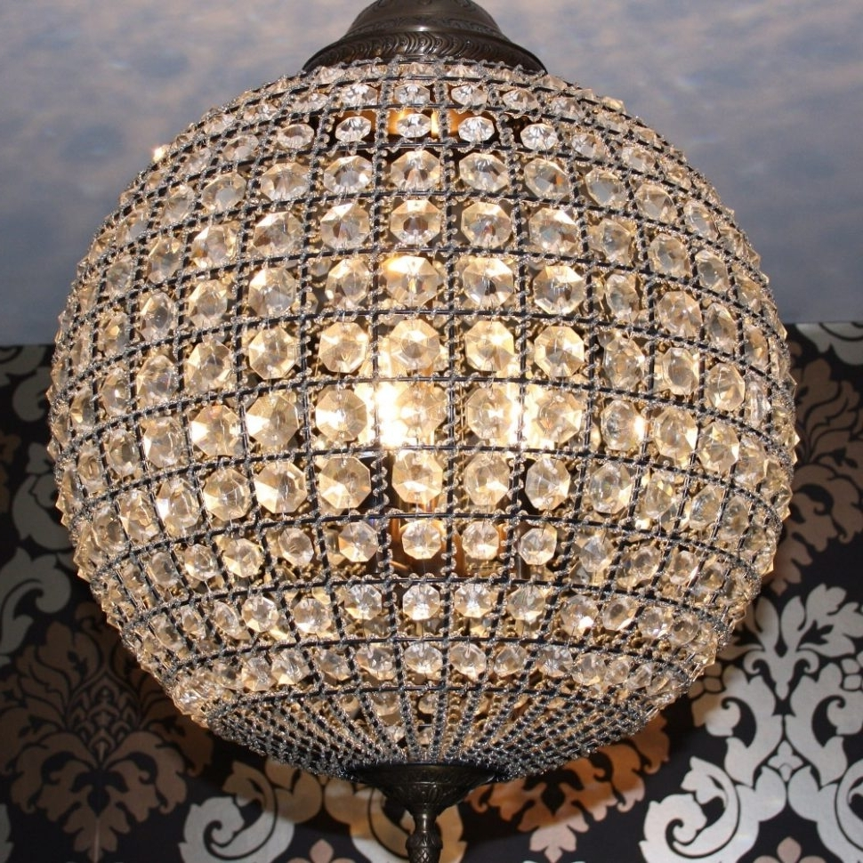 Chandeliers : Crystal Globe Chandelier Bronze Examples Collection Within Fashionable Globe Crystal Chandelier (View 13 of 20)