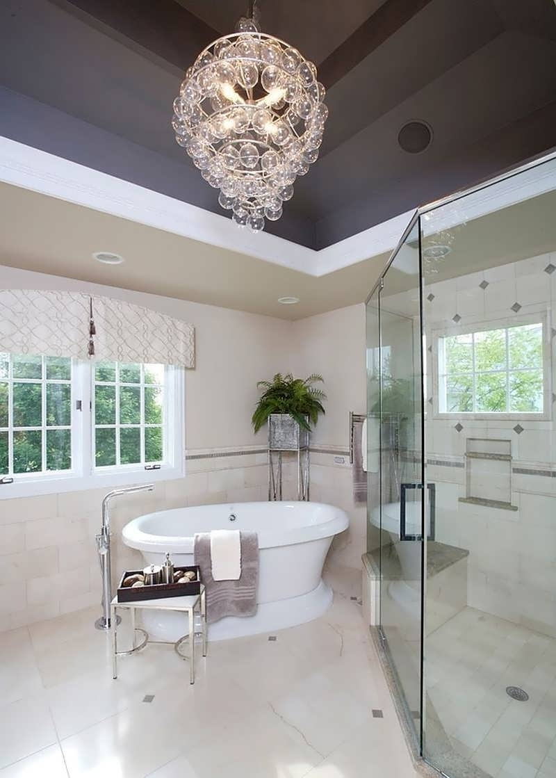 Chandeliers Design : Awesome Ultra Modern Bathroom Chandelier Above Regarding Most Up To Date Modern Bathroom Chandeliers (View 11 of 20)