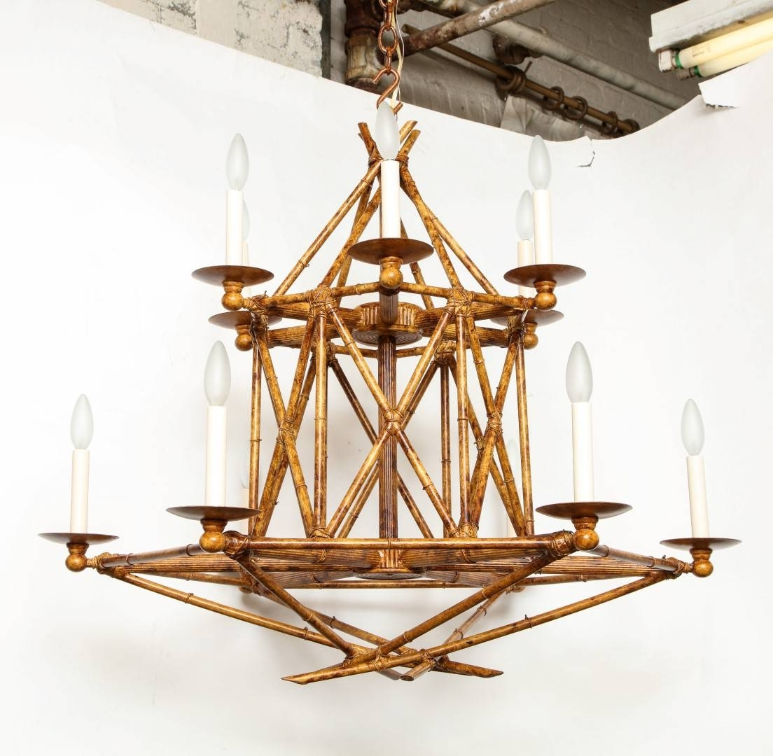 Chandeliers Design : Fabulous Italian Chinoiserie Faux Bamboo Gilt Within Fashionable Chinoiserie Chandeliers (View 10 of 20)