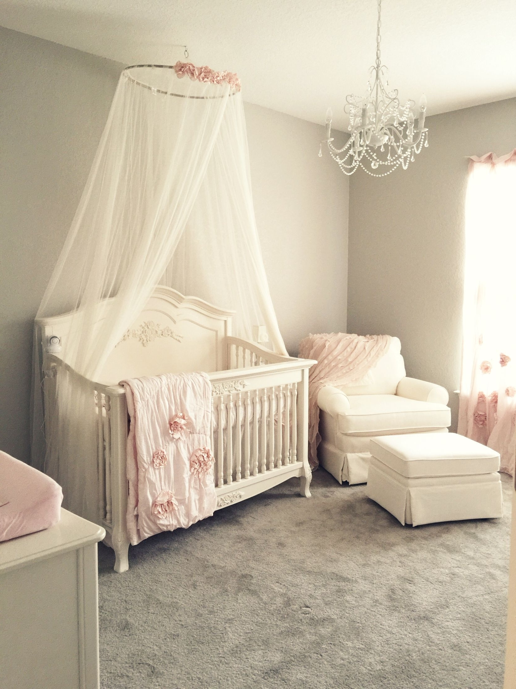 Chandeliers For Girl Nursery Regarding Recent Girly Pink Blush Nursery With Chandelier, Ivory Rocker And Glider (View 9 of 20)