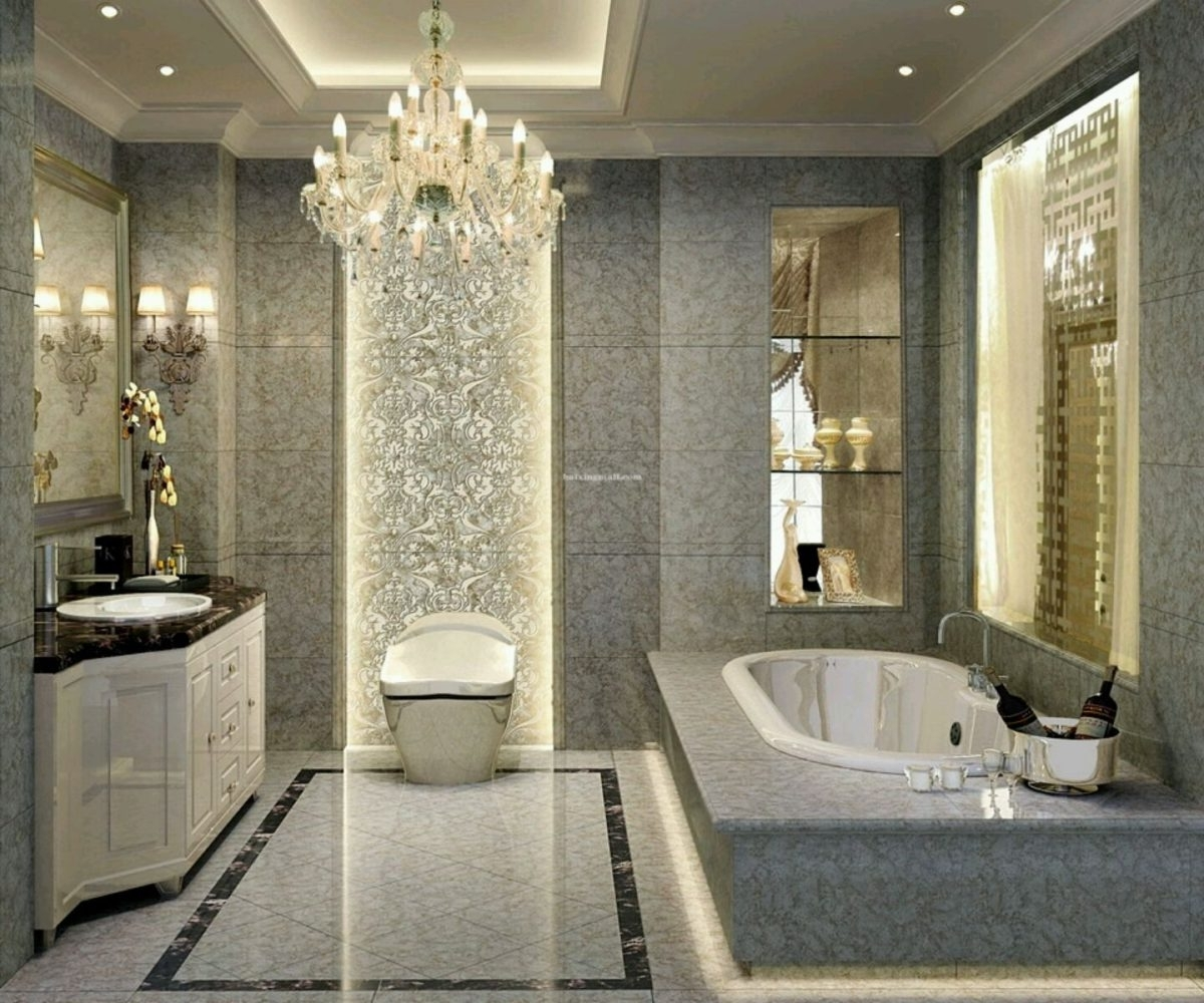 Chandeliers For The Bathroom In Trendy Bathroom : Crystal Chandeliers Bathroom Mirror Glass Window Marble (View 8 of 20)