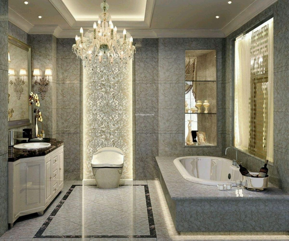 Chandeliers For The Bathroom In Trendy Bathroom : Crystal Chandeliers Bathroom Mirror Glass Window Marble (View 8 of 20)
