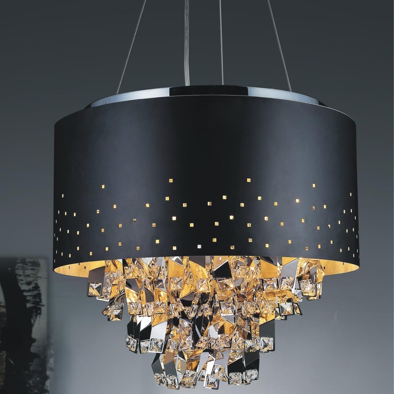 Chandeliers With Black Shades In Favorite Chandelier: Inspiring Black Metal Chandelier Wrought Iron Candle (View 7 of 20)