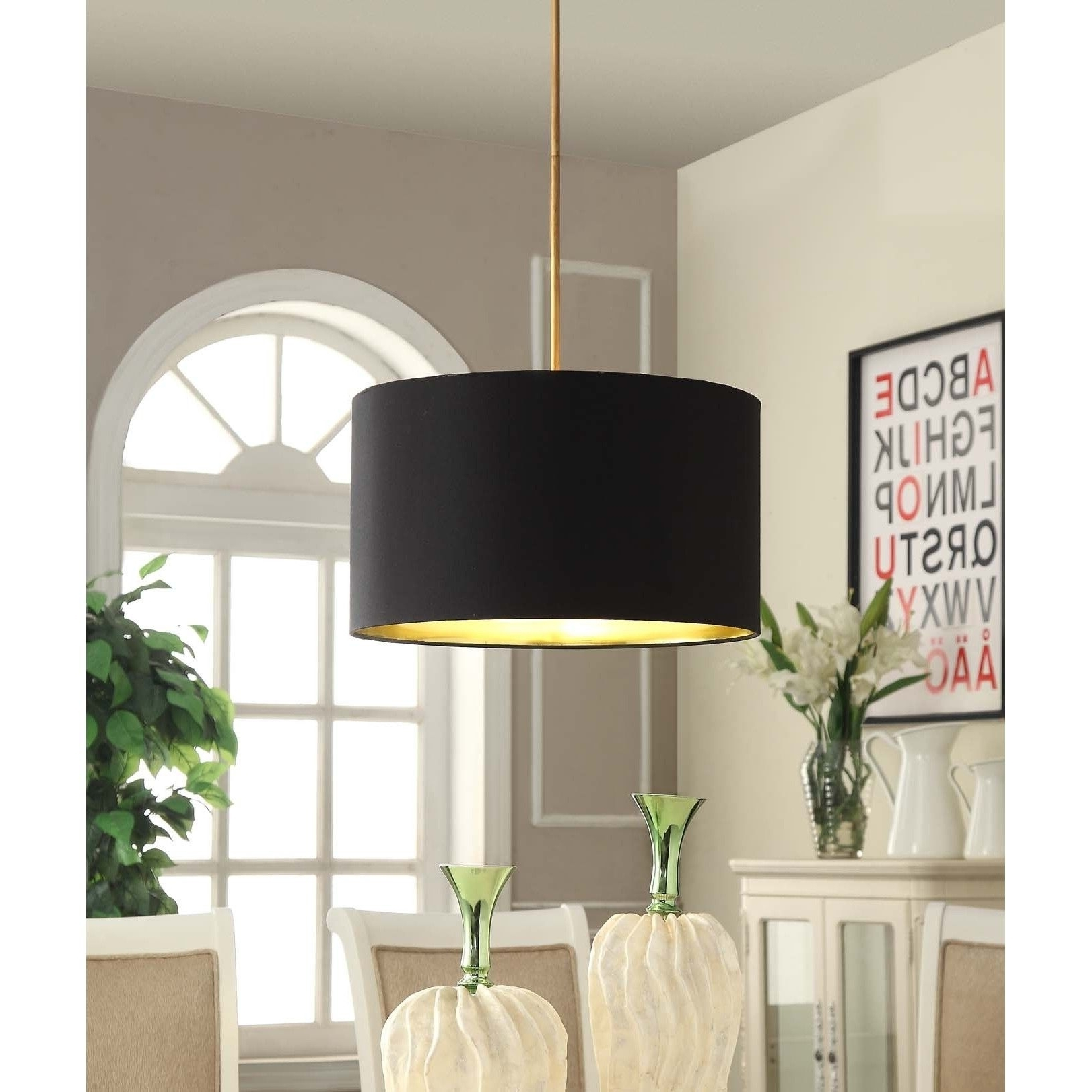 Chandeliers With Black Shades With Popular This Lovely Pendant Features A Black Linen Shade That Is Accentuated (View 8 of 20)