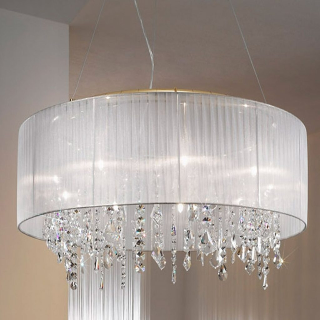 Chandeliers With Lamp Shades With 2019 Chandeliers : Chandelier Lamp Shades Drum For Inches Semi Closed End (View 8 of 20)