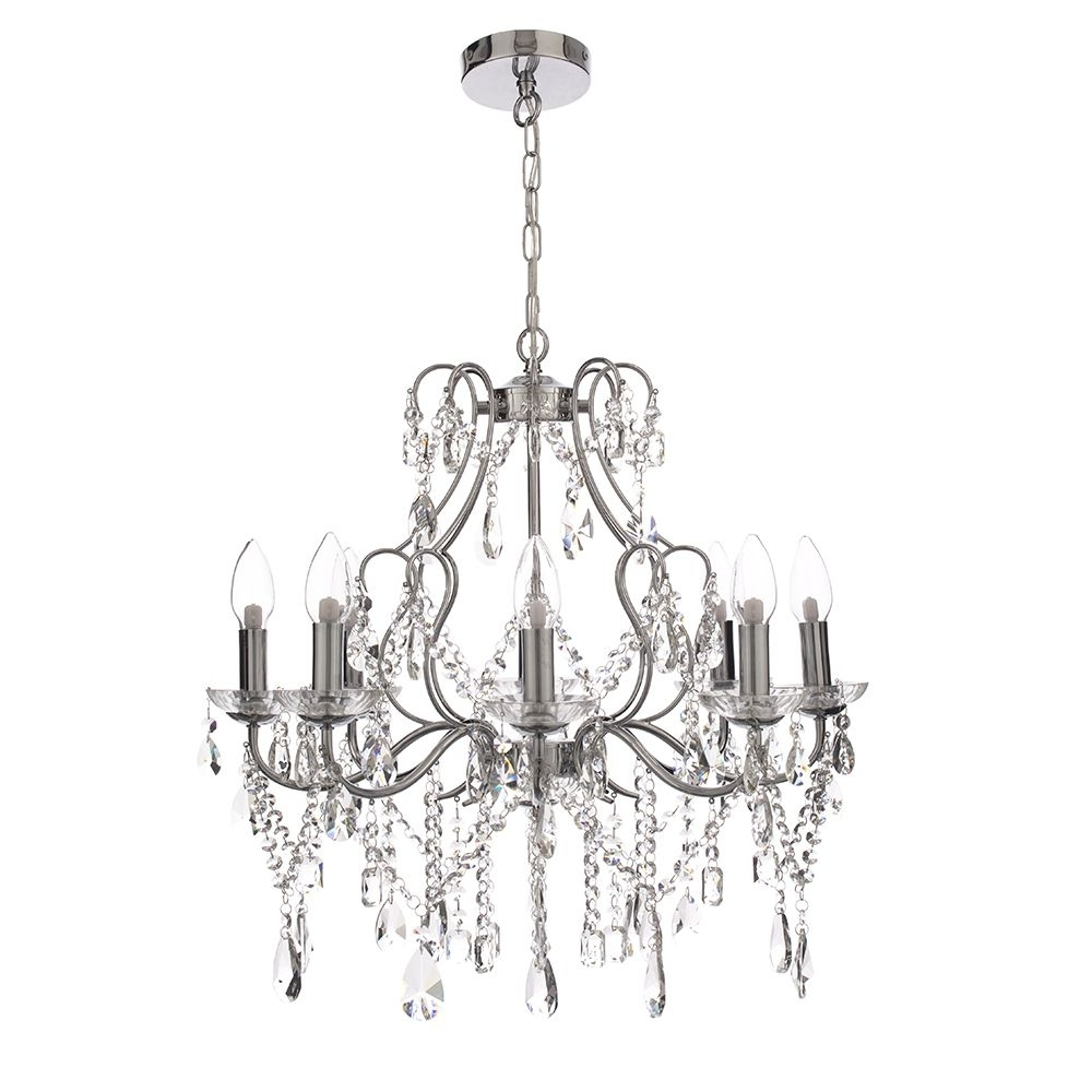 Chrome And Crystal Chandeliers Regarding Preferred 8 Light Crystal Chandelier Chrome (View 7 of 20)