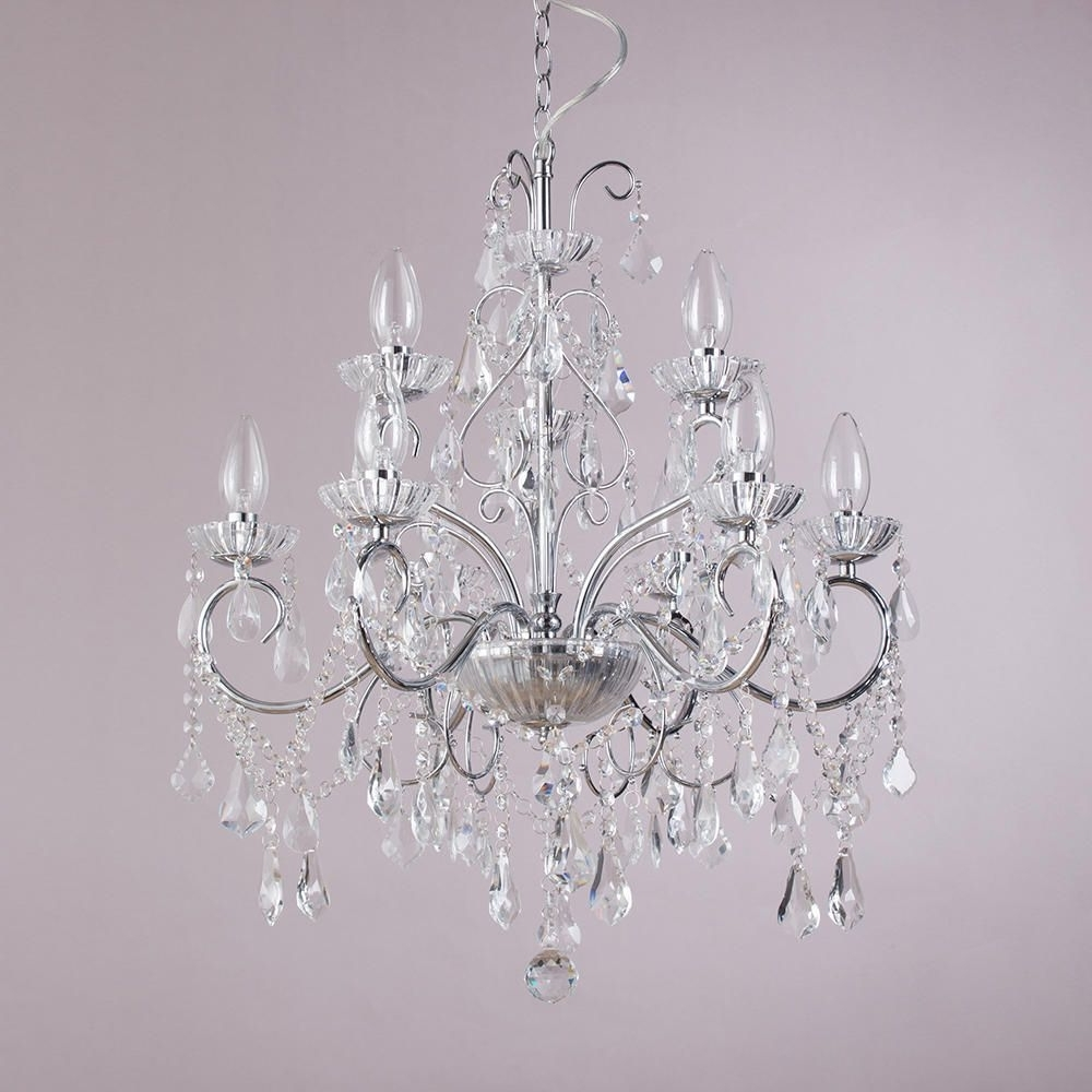 Chrome And Crystal Chandeliers Regarding Well Known Vara 9 Light Bathroom Chandelier – Chrome (View 8 of 20)