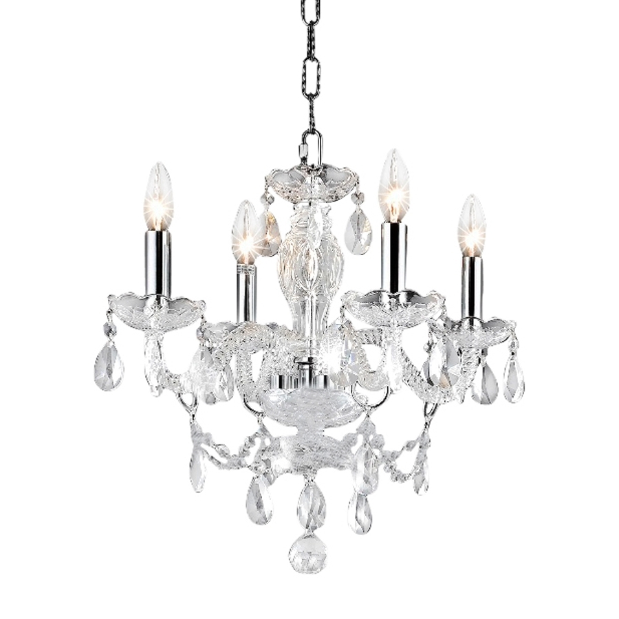 Chrome And Crystal Chandeliers With Popular Shop Elegant Lighting Princeton 17 In 4 Light Chrome Crystal Crystal (View 9 of 20)