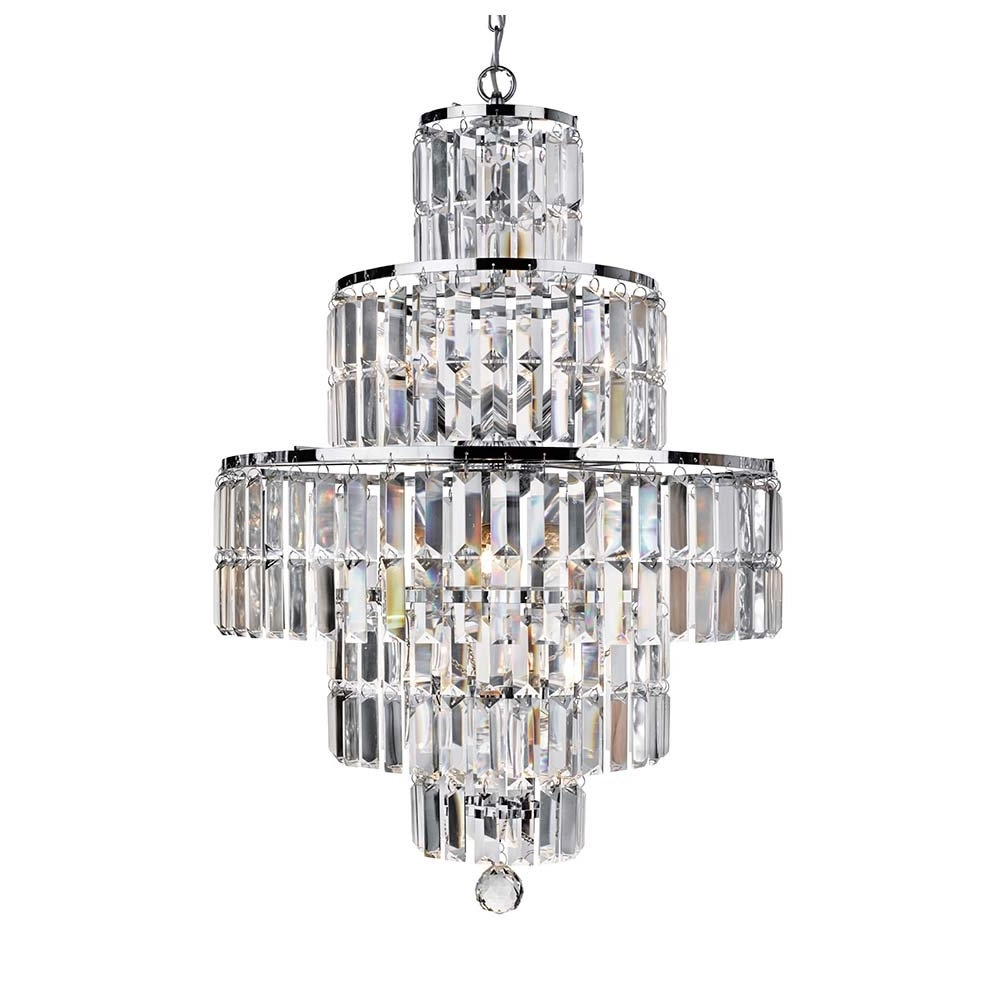 Chrome And Glass Chandelier Pertaining To Newest 1400Cc Empire 5 Light Chrome Chandelier With Clear Bevelled Glass (View 4 of 20)