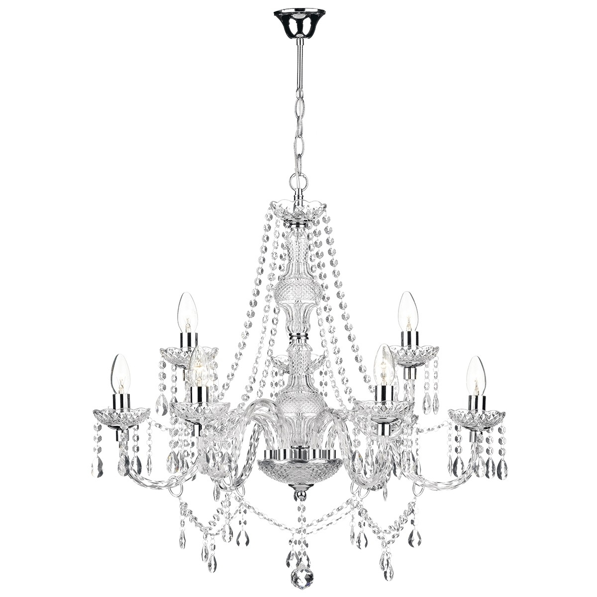 Chrome And Glass Chandelier With Regard To Current Katie 9 Light Chandelier Polished Chrome Acrylic Glass (View 7 of 20)