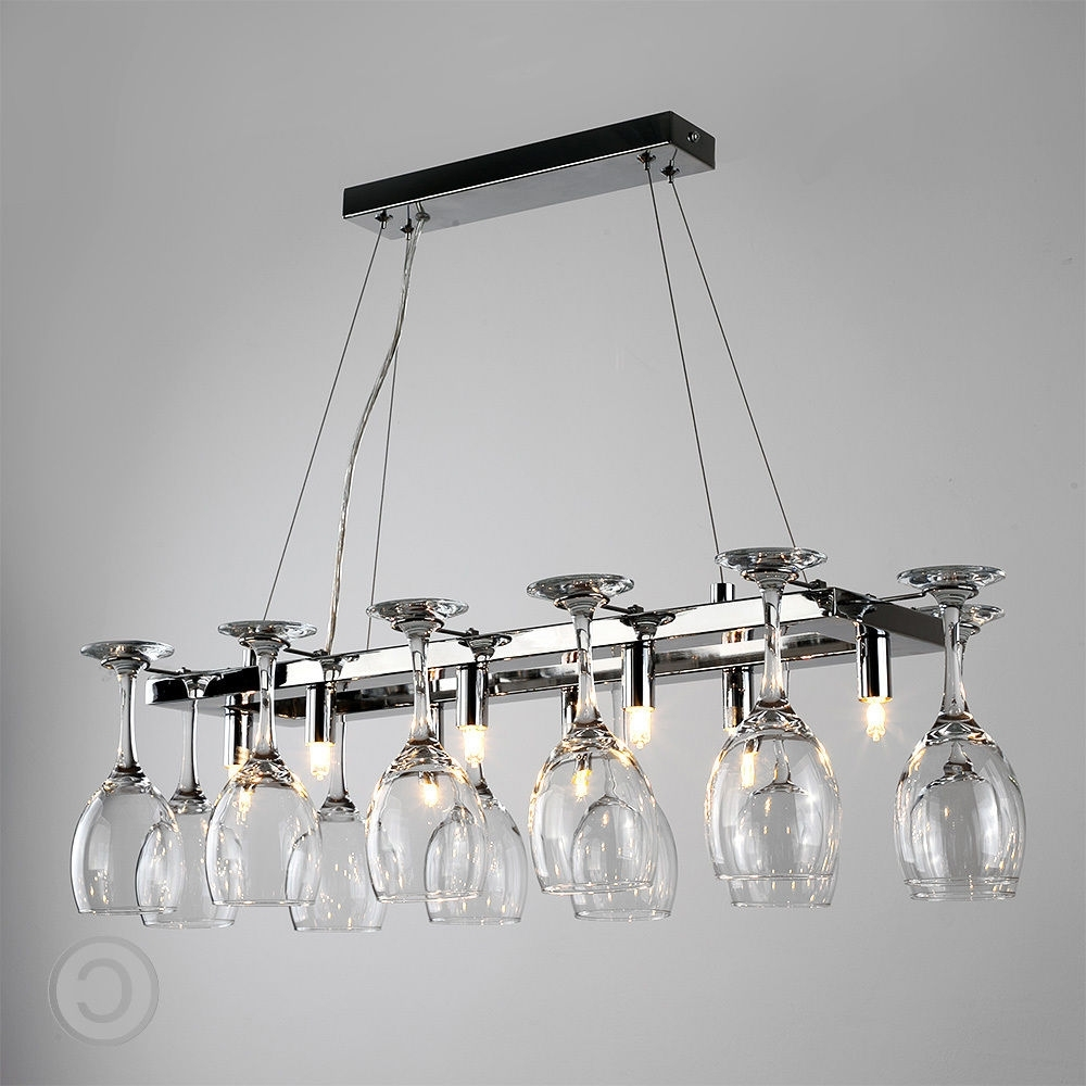 Chrome And Glass Chandeliers Pertaining To Widely Used Modern 8 Way Chrome Wine Glass Rack Chandelier Suspended Ceiling (View 8 of 20)