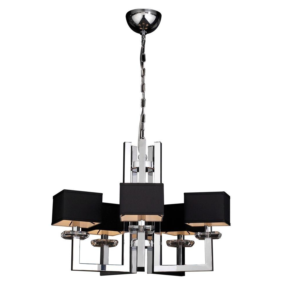 Chrome And Glass Chandeliers Regarding Fashionable Plc Lighting 5 Light Polished Chrome Chandelier With Black Fabric (View 5 of 20)