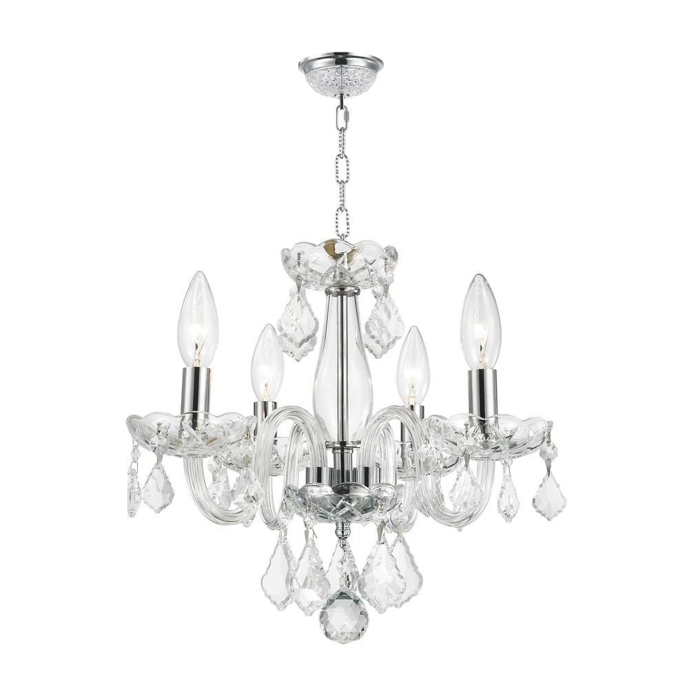 Chrome And Glass Chandeliers Throughout 2018 Worldwide Lighting Clarion Collection 4 Light Polished Chrome (View 10 of 20)