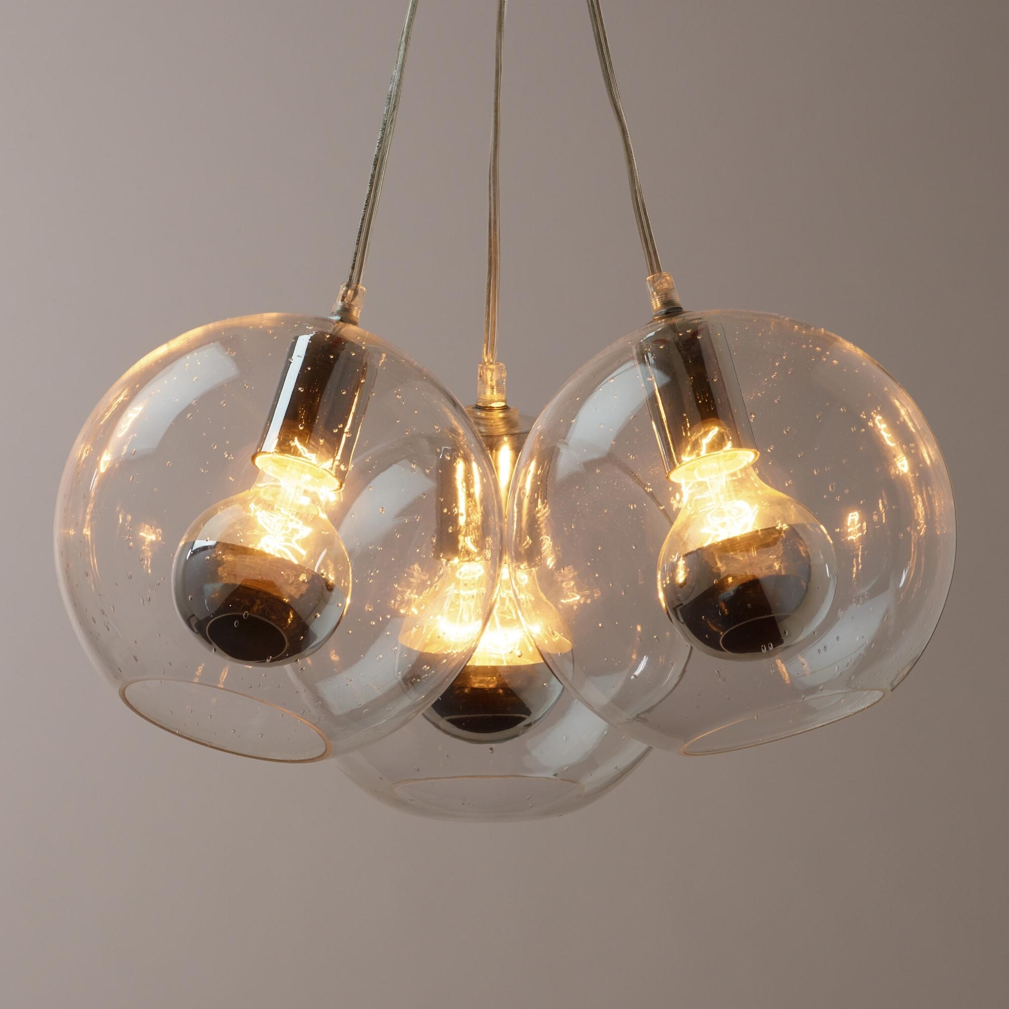 Chrome And Glass Chandeliers With Regard To Fashionable Light : Fascinating Seeded Glass Chrome Tip Bulb Cluster Pendant (View 15 of 20)