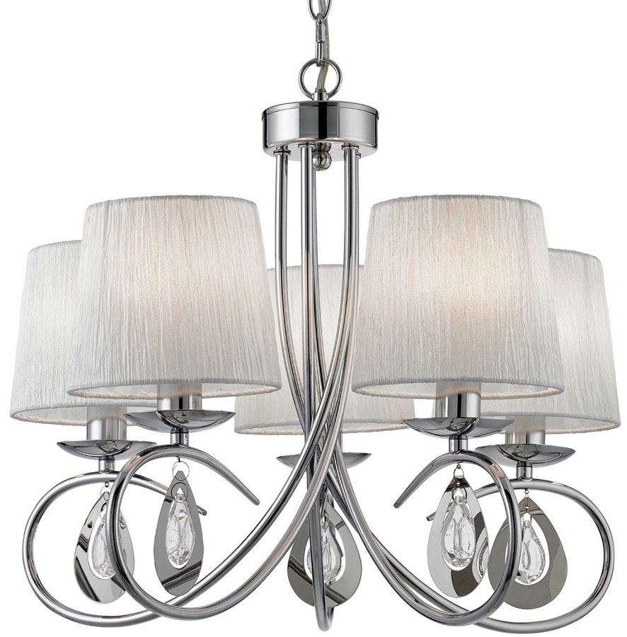 Chrome Chandelier For Fashionable Angelique Decorative 5 Light Chrome Chandelier With Shades 1025 5cc (View 11 of 20)