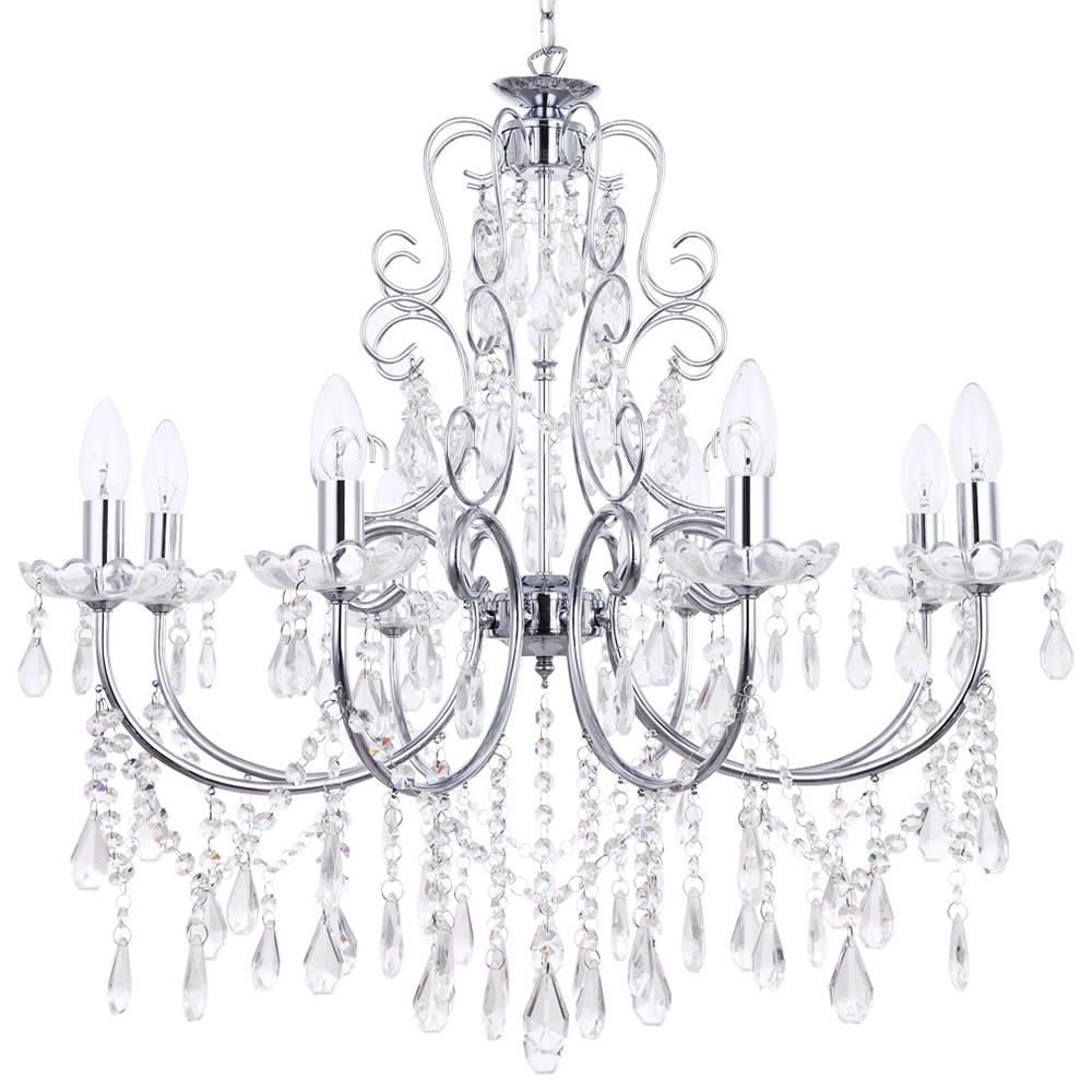 Chrome Chandelier For Popular Madonna 8 Light Dual Mount Chrome Chandelier From Litecraft (View 9 of 20)