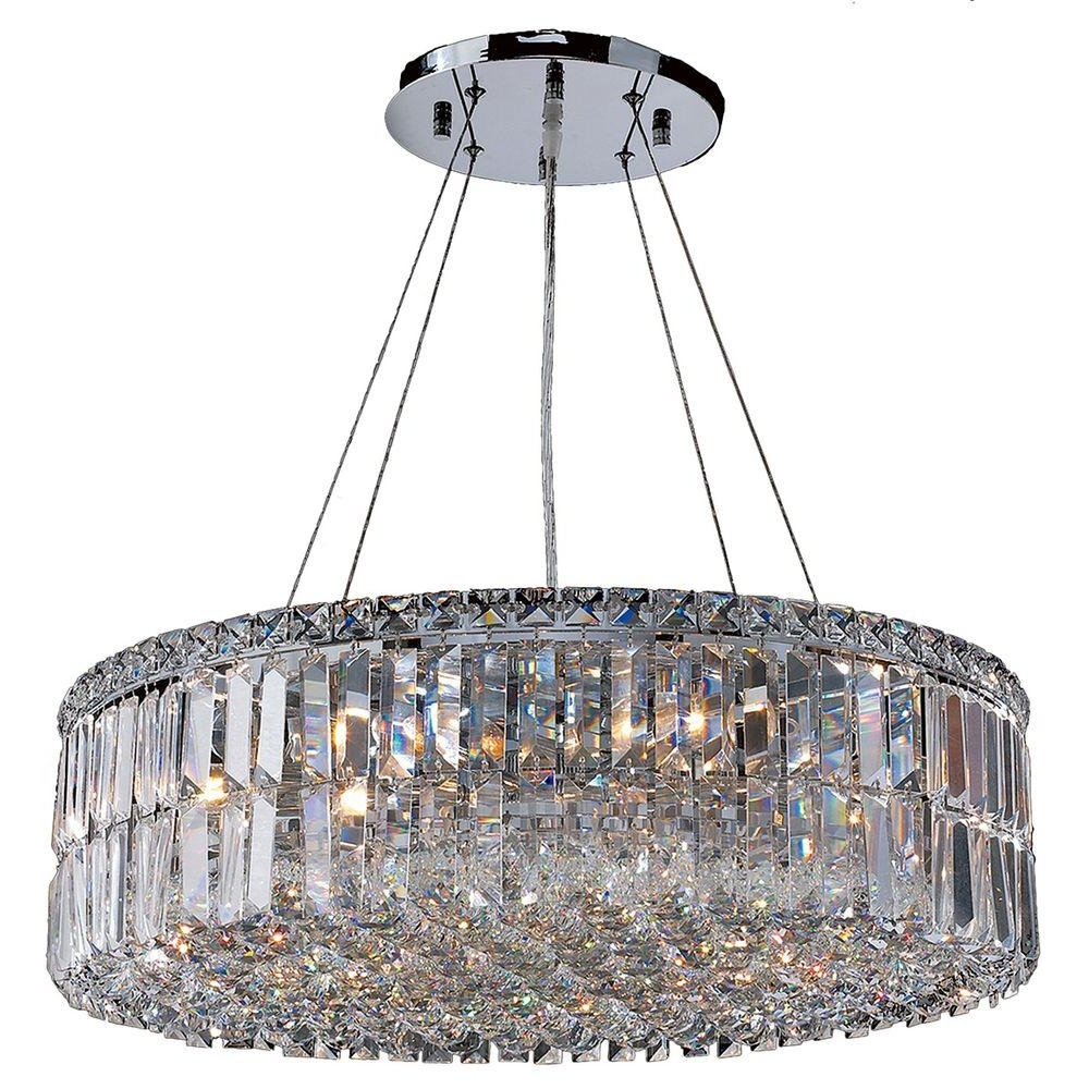 Chrome Crystal Chandelier Intended For Trendy Worldwide Lighting Cascade Collection 12 Light Polished Chrome (View 3 of 20)