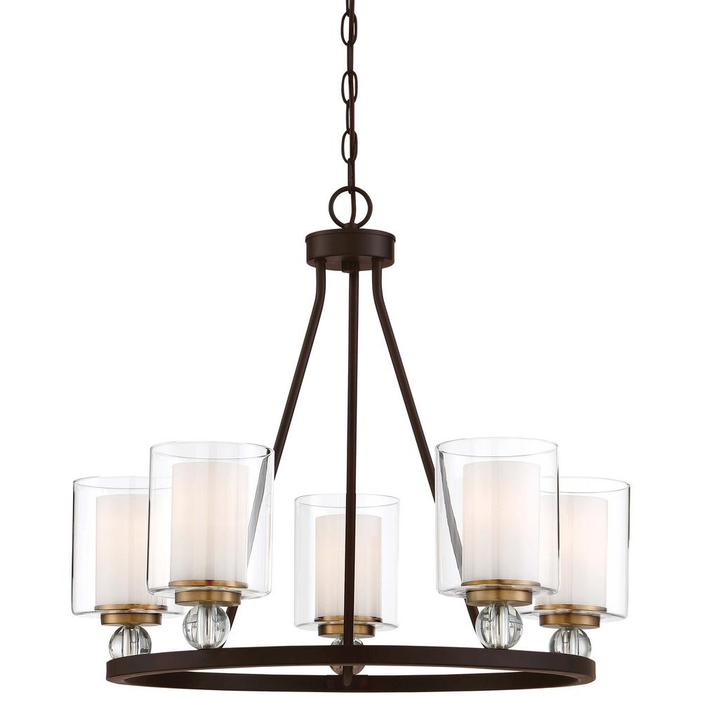 Clear Glass Chandeliers Pertaining To Famous Minka Lavery Studio 5 Collection 5 Light Painted Bronze With Natural (View 5 of 20)