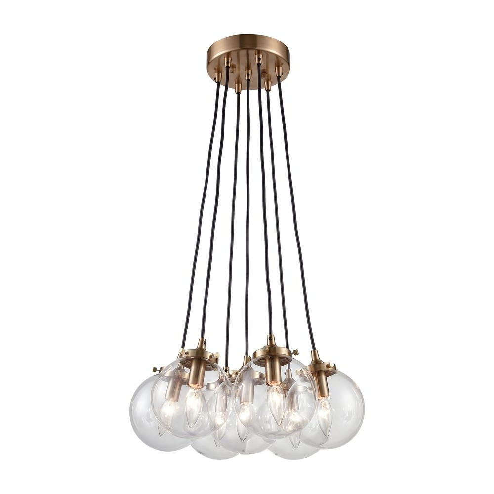 Clear Glass Chandeliers Throughout Most Popular Titan Lighting Boudreaux 7 Light Matte Black And Antique Gold (View 8 of 20)