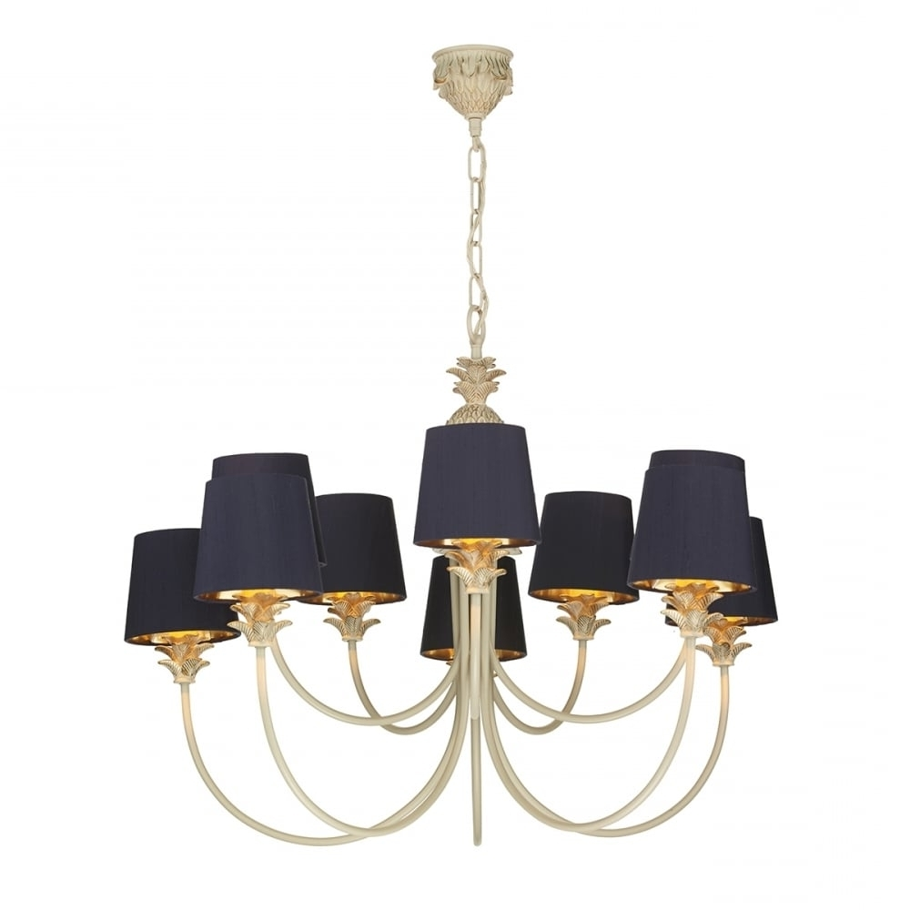 Colonial Pineapple Design Chandelier In Cream Gold With Navy Shades Regarding Famous Cream Gold Chandelier (View 12 of 20)