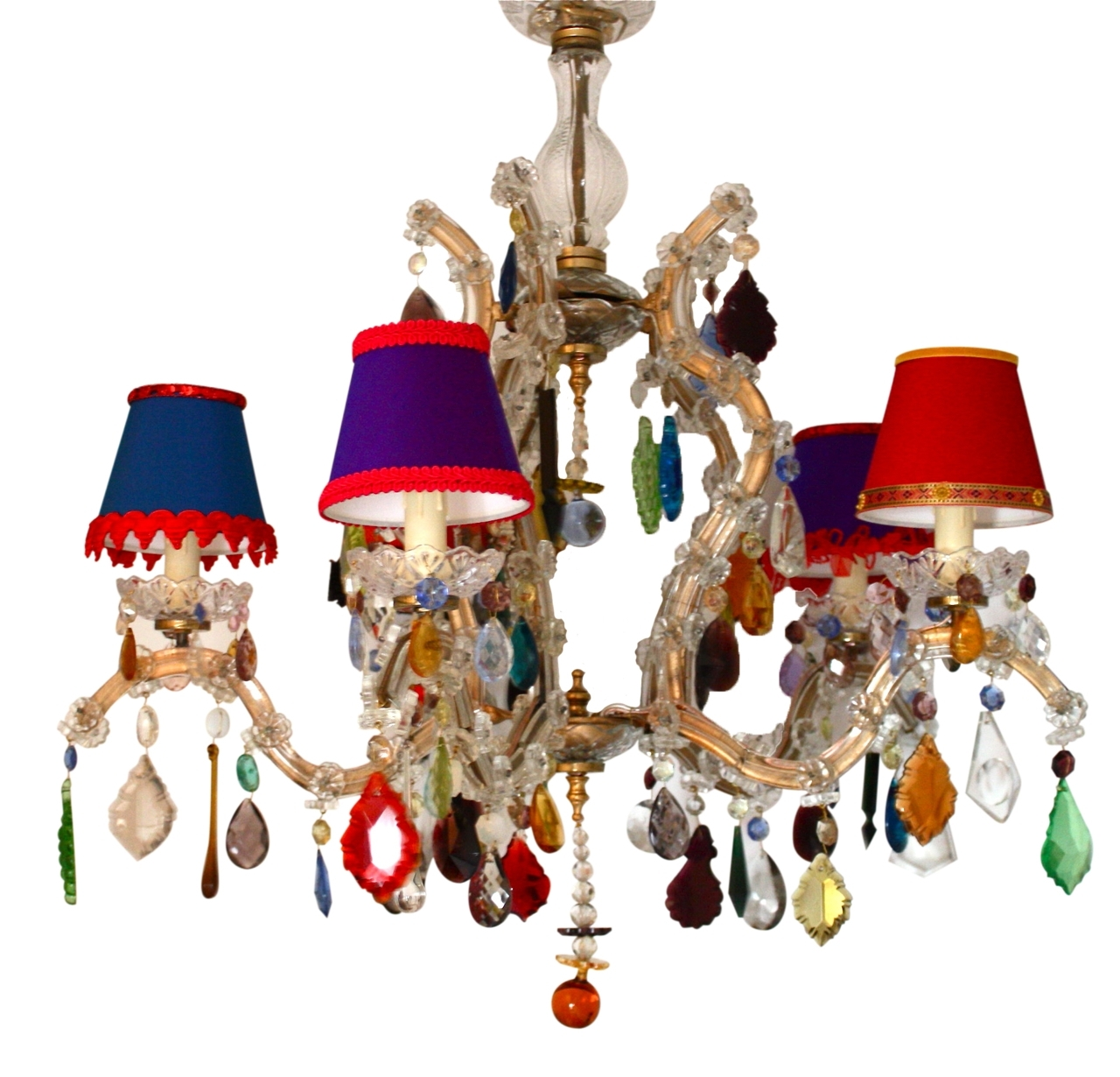 Coloured Chandeliers Inside Well Known 5 Arm Glass Marie Therese With Multi Coloured Drops – The Vintage (View 2 of 20)