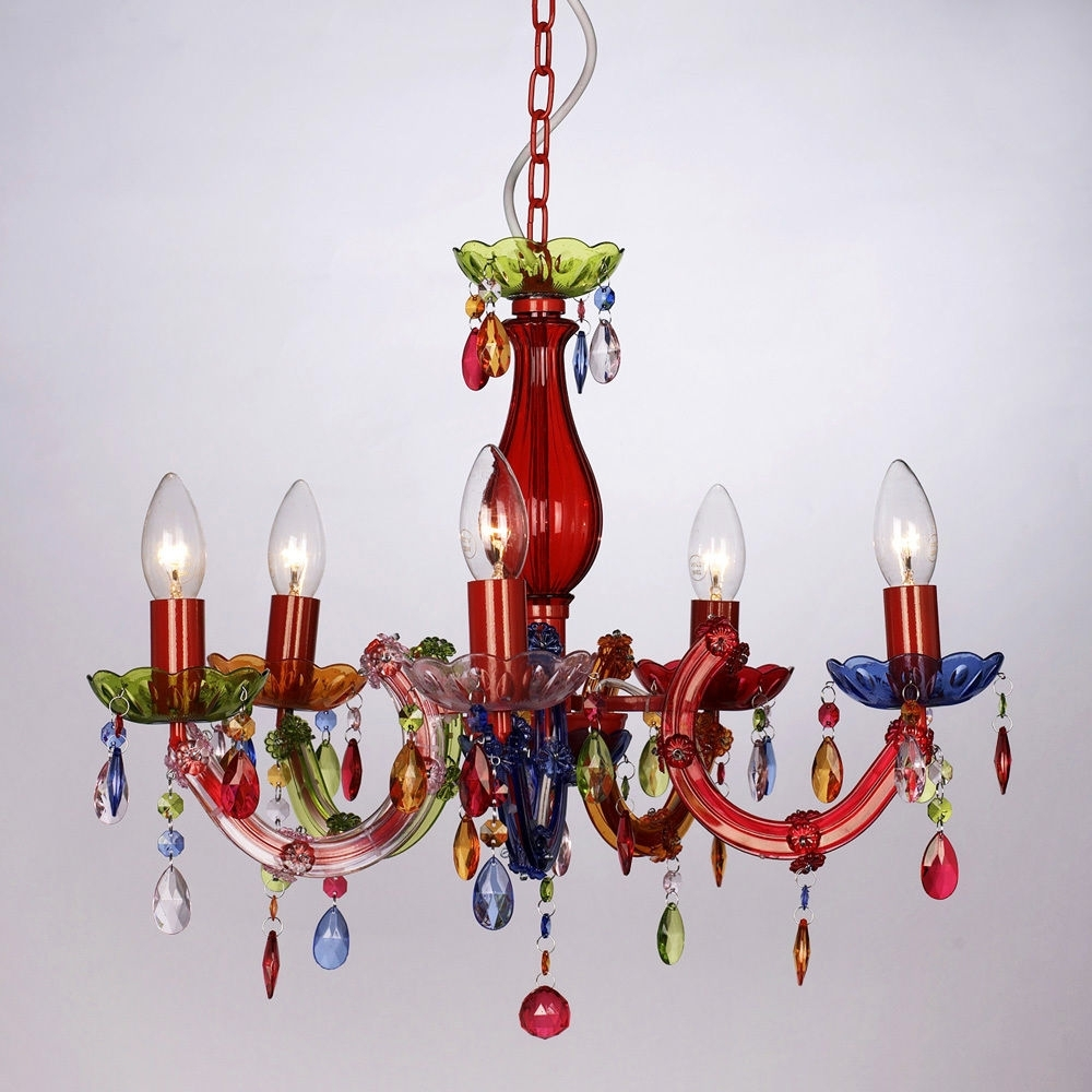 Coloured Chandeliers Intended For Most Recently Released Vintage Style Multi Coloured Marie Therese 5 Way Ceiling Light Gypsy (View 15 of 20)