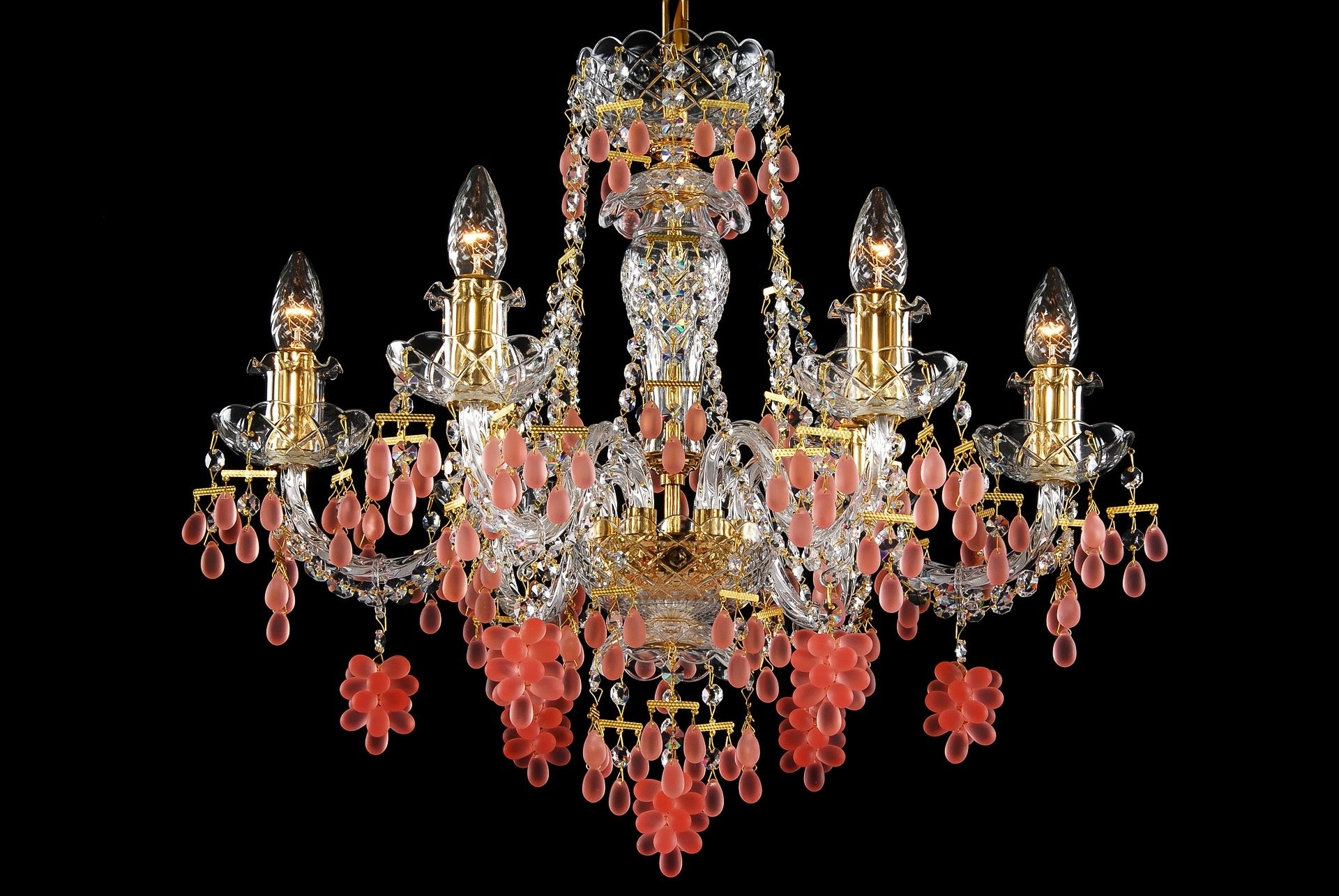 Coloured Chandeliers Pertaining To Famous A Six Arm Crystal Chandelier With Gold Coloured Metal Decorated With (View 9 of 20)