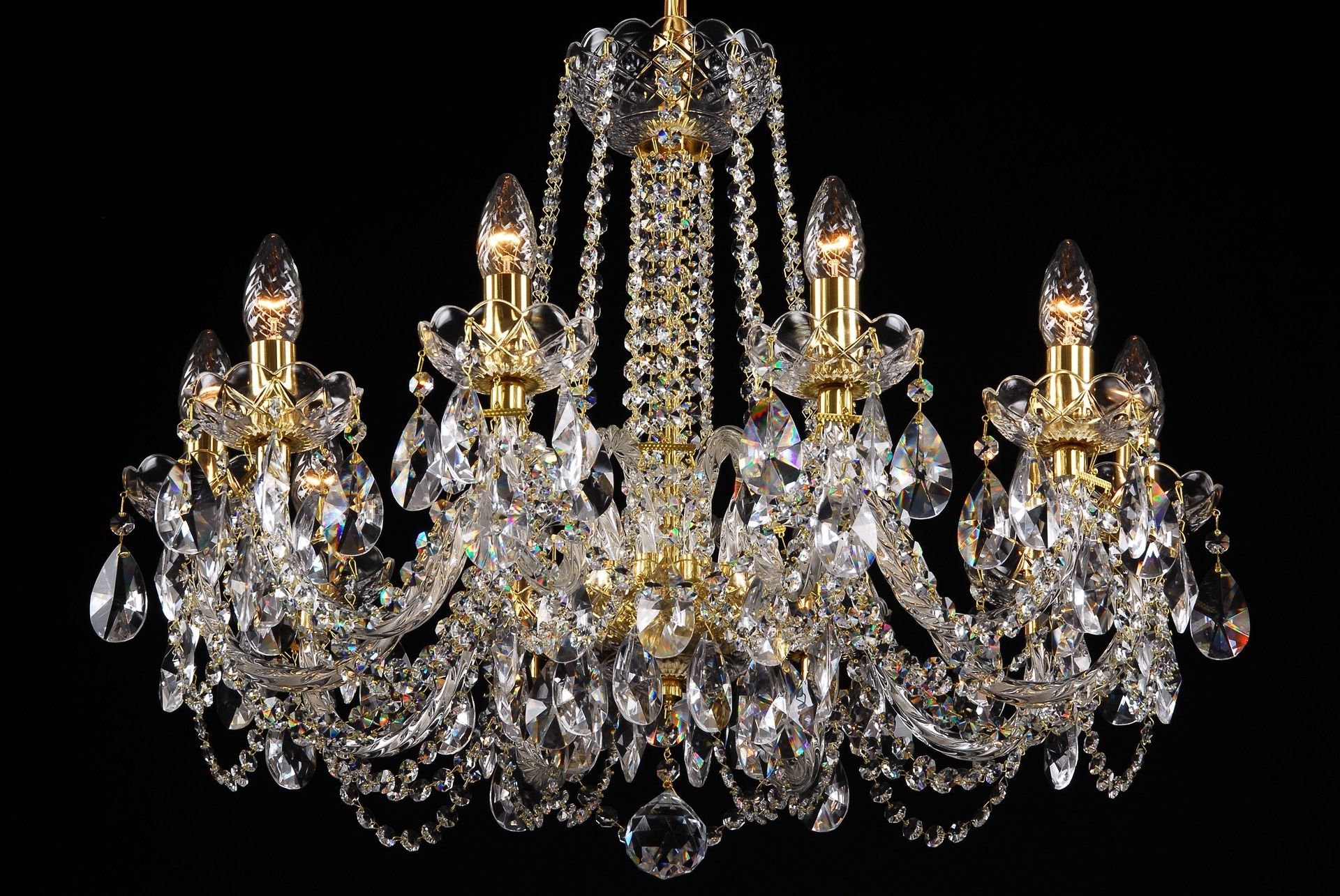 Coloured Glass Chandelier For Most Popular A Crystal Chandelier With Gold Coloured Metal Suitable For Interiors (View 19 of 20)