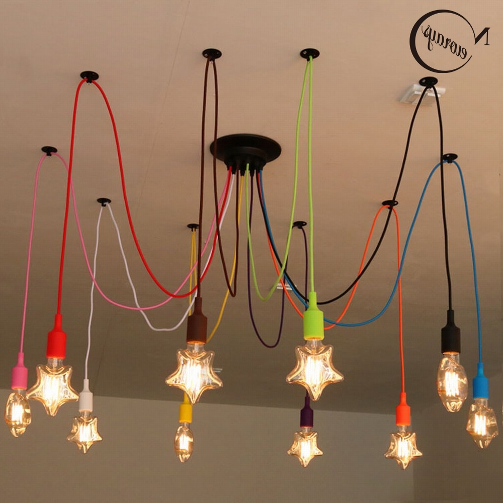 Colourful Chandeliers With Regard To Most Recent Diy Colourful Spider Chandelier Lamp Lights Led Retro Spider (View 5 of 20)